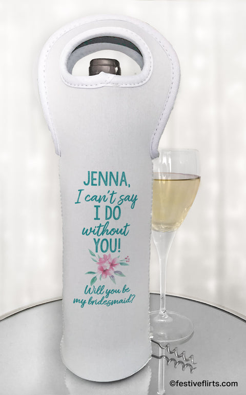 Bridesmaid Ask Personalized Wine Bottle Bag