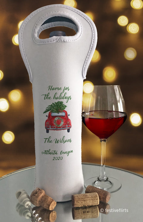 Home For The Holidays Car Personalized Wine Bag