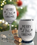 Merry F'ing Christmas Insulated Wine Glass Sleeve