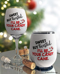 Sweet but Twisted Candy Cane Wine Glass Sleeve
