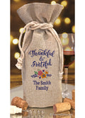 Thankful & Grateful Personalized Wine Bottle Bag