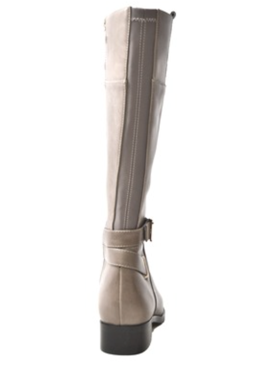 Gabi Grey Leather Riding Boots
