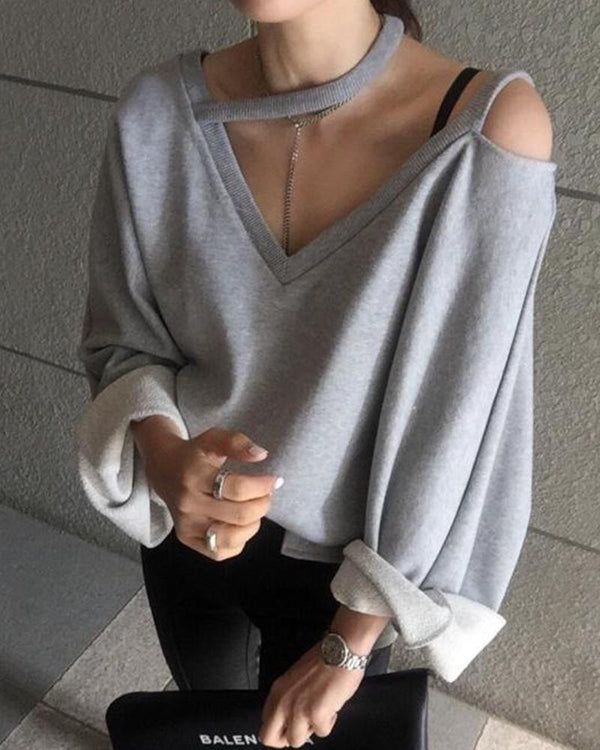 Cold Shoulder V Neck Sweatshirt