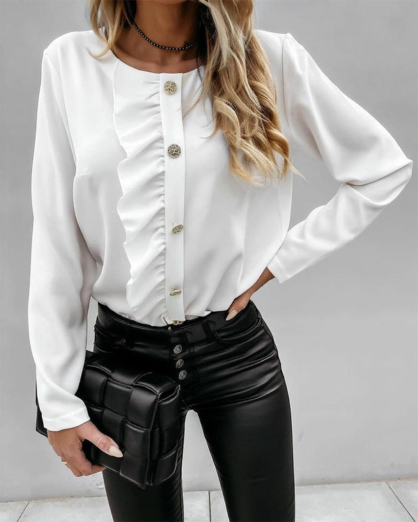 Solid Ruffles Button-down Blouse
