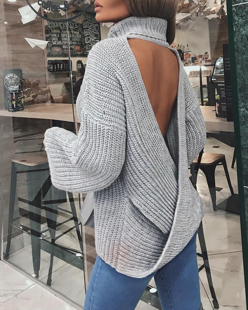 Turtleneck Backless Rib Knit Sweater