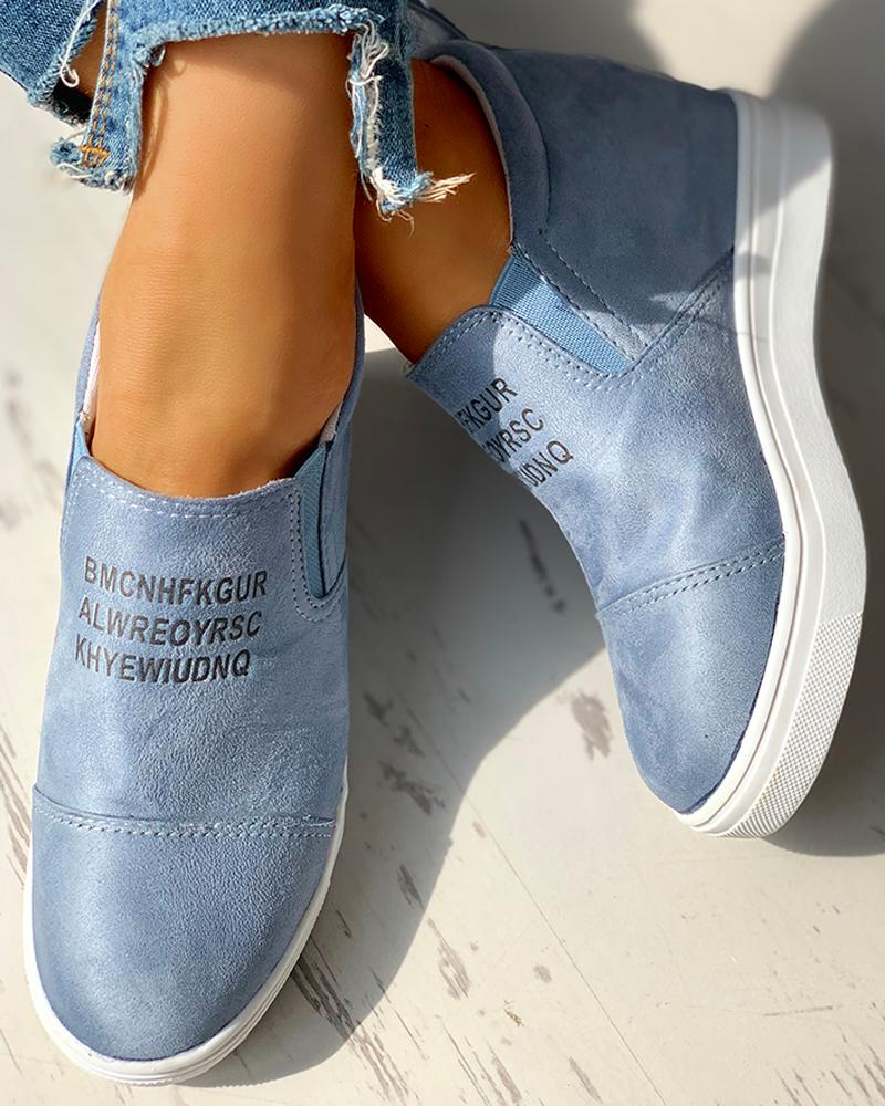 Suede Letter Pattern Casual Sneakers
