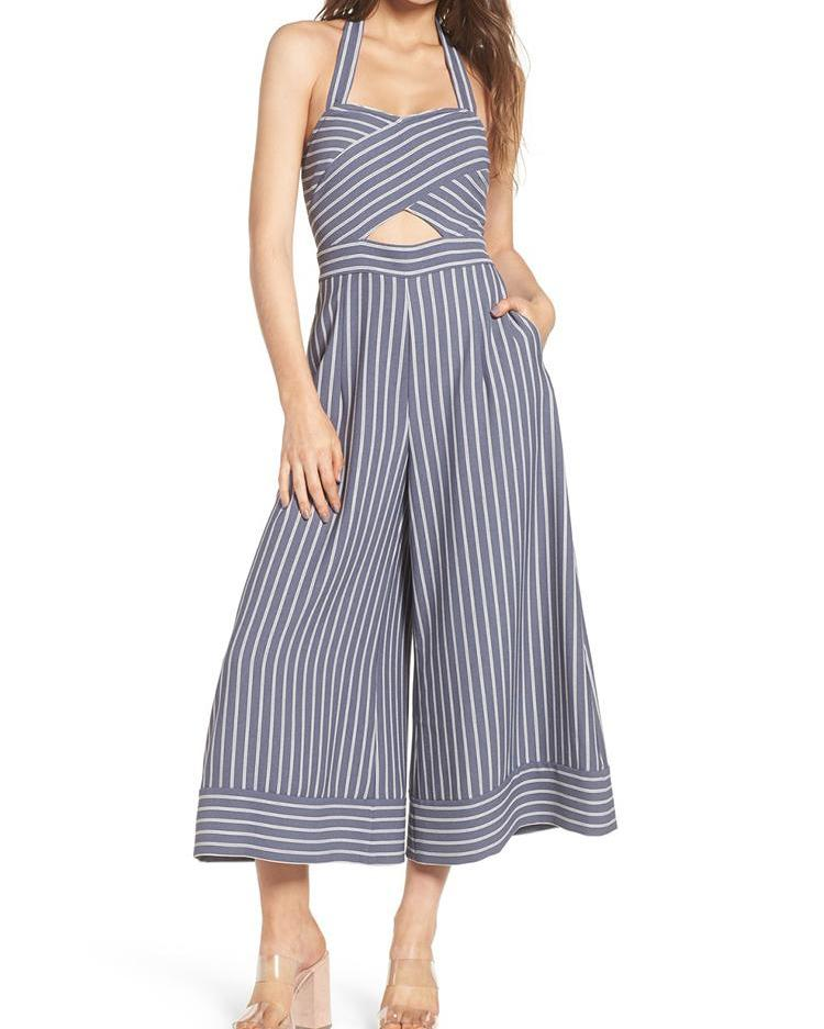 Pinstriped Halter Cross Over Wide Leg Jumpsuit