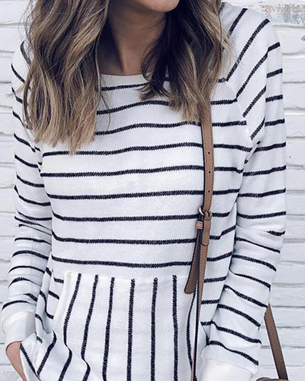 Striped Long Sleeve Pocket Casual Sweatshirt