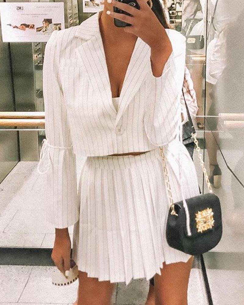 Pleated Detail Two-Piece Shirt Dress