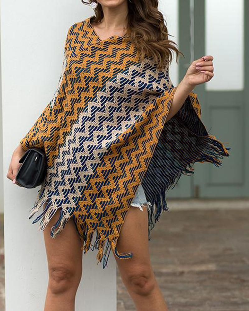 Striped Tassel Hem Cape Top