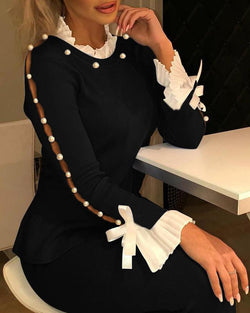 Ruffles Cuff Beaded Detail Blouse