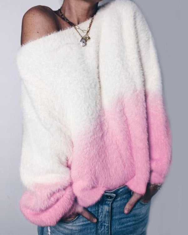 Ombre Flannel One Shoulder Sweatshirt