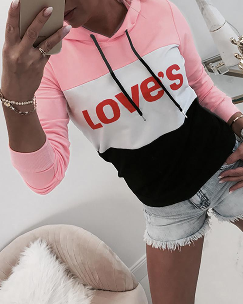Hooded Colorblock Letter Print Drawstring Sweatshirt