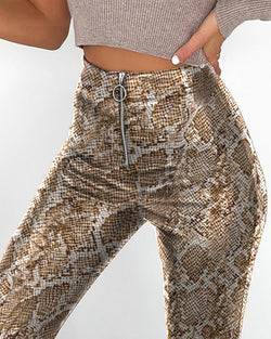 Faux Leather Snakeskin Print Pant