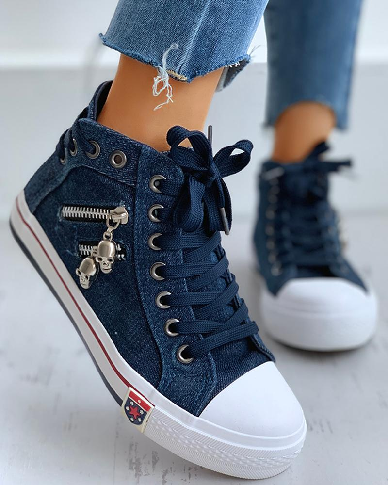 Lace-Up Skeleton Zipper Detail Casual Sneakers