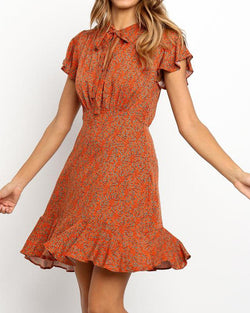 Floral Tie Neck Mini Dress
