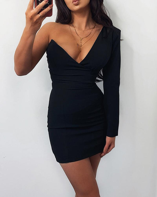 Solid Single Long Sleeve Skinny Bodycon Dress