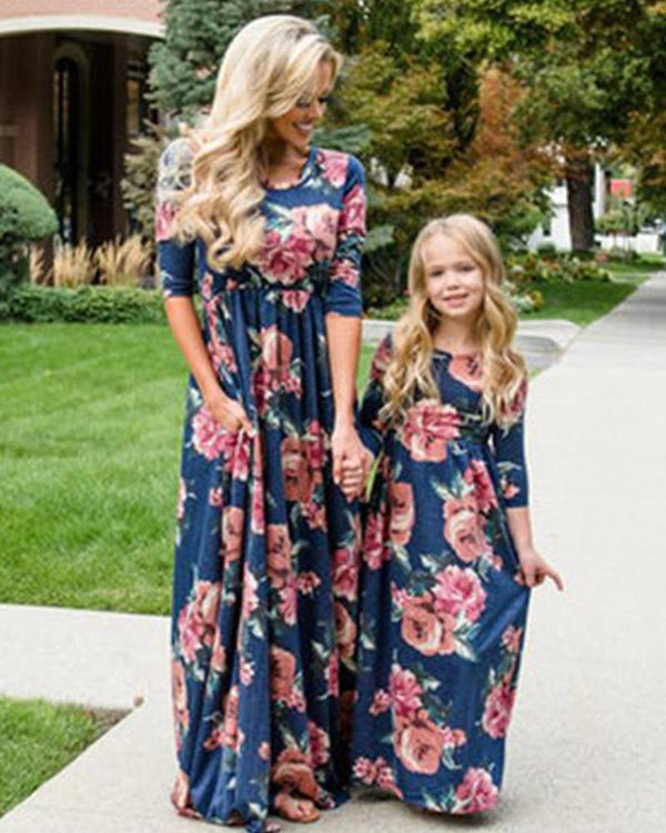 Floral Print Maxi Dress For Small Girls
