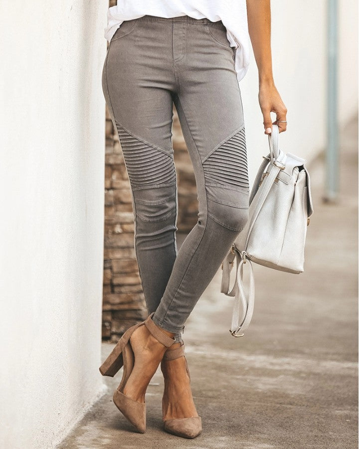Stretchy Pleated Ankle Zipper Pants