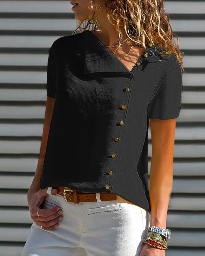Short Sleeve Buttoned Casual Blouse