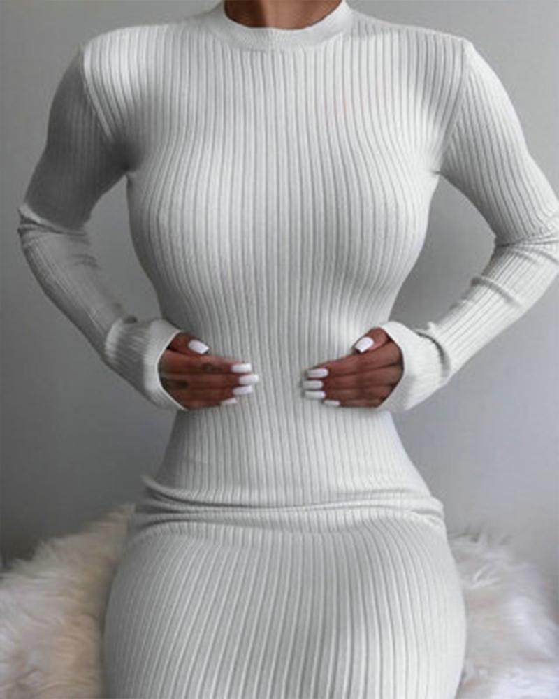 Solid Color Long Sleeve Backless Long Dress