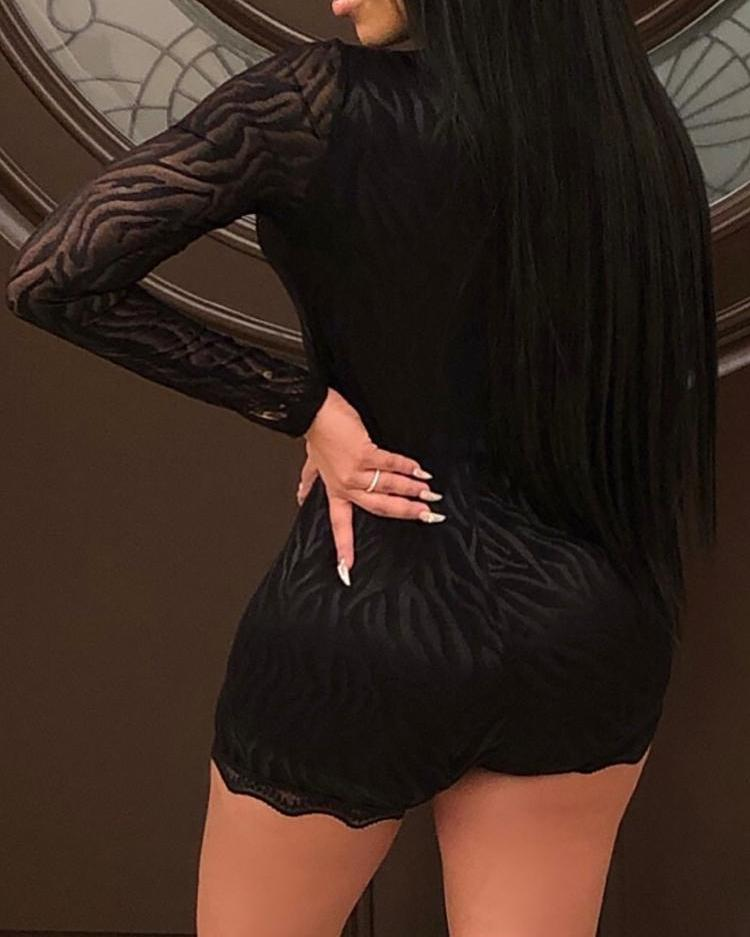 Sheer Mesh Hot Drilling Romper
