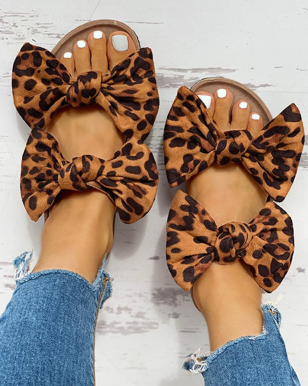 Bowknot Design Casual Flat Sandals
