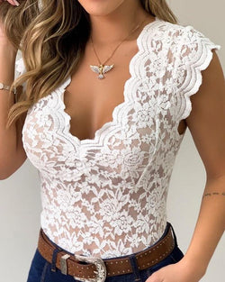 Sheer Mesh Lace Sleeveless Bodysuit