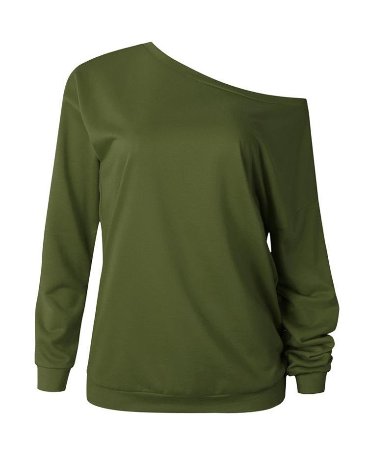 Solid Skew Neck Long Sleeve Casual T-Shirt