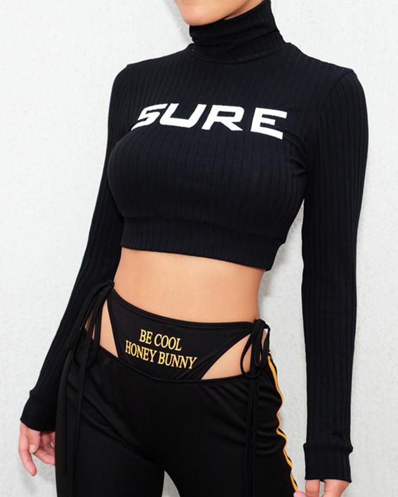 Mock Neck Letter Print Crop Top