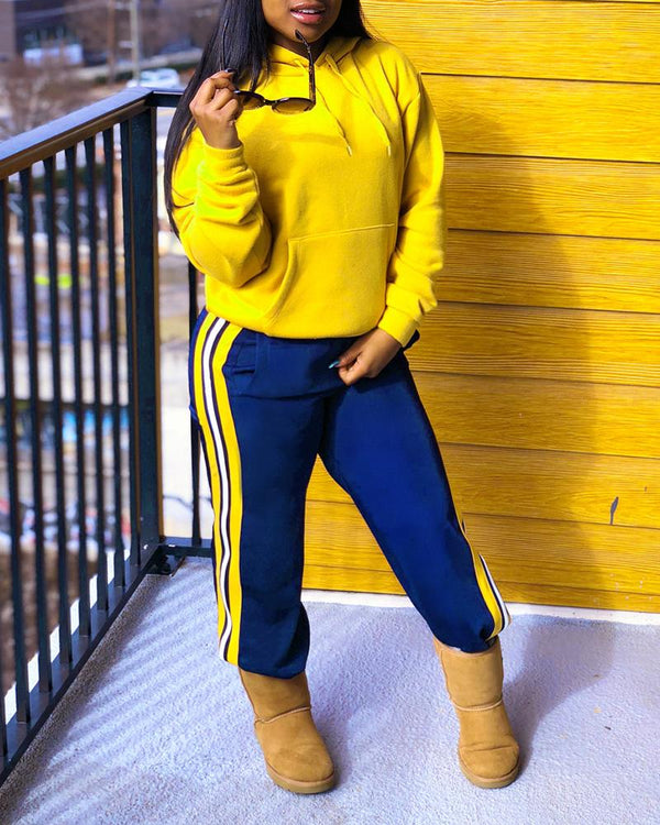 Color Block Long Sleeve Sweatshirt Sets