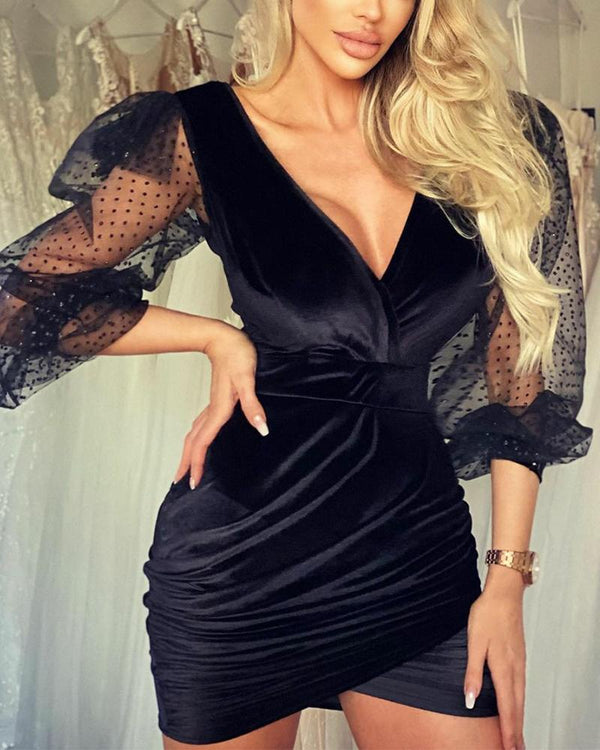 Stitching Lace Solid Color Long Sleeve Mini Dress