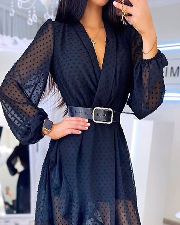 Lantern Sleeve Swiss Dot Mesh Ruffles Wrap Dress