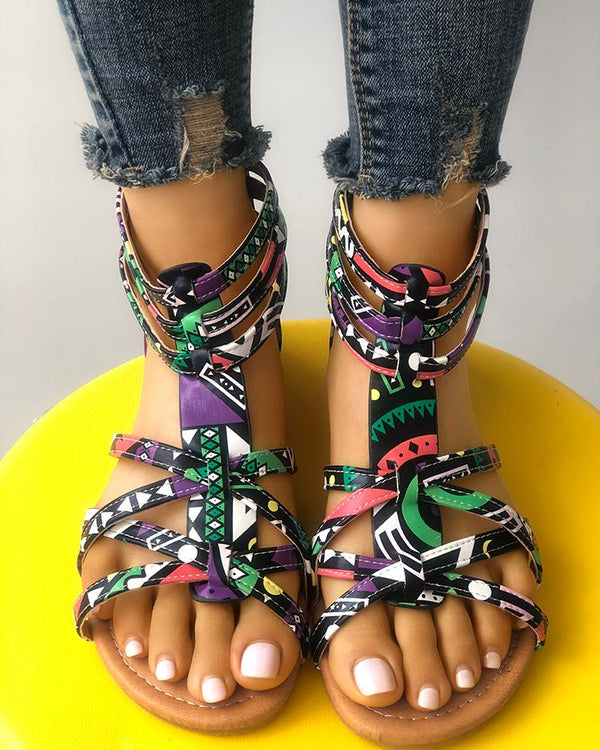 Graffiti Print Strappy Bandage Flat Sandals