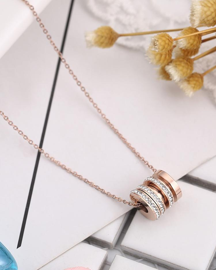 Circle Pendant Chain Link Necklace