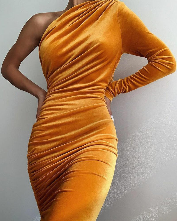 Solid Skinny Waist Drawstring Hem Bandage Dress