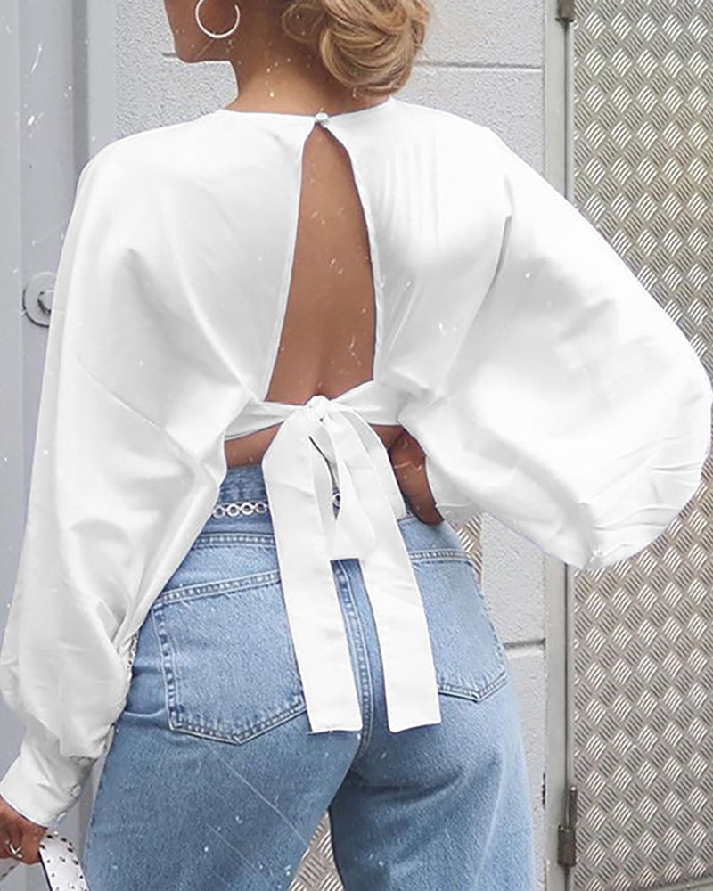 Solid Lantern Sleeve Tied Backless Cropped Blouse