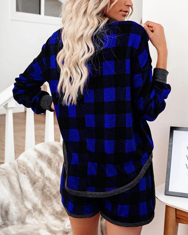 Plaid Long Sleeve Button-down Blouse