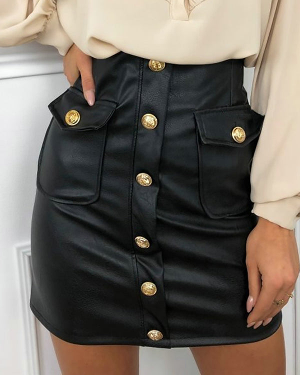 High Waist Faux Leather Butttoned Mini Skirt
