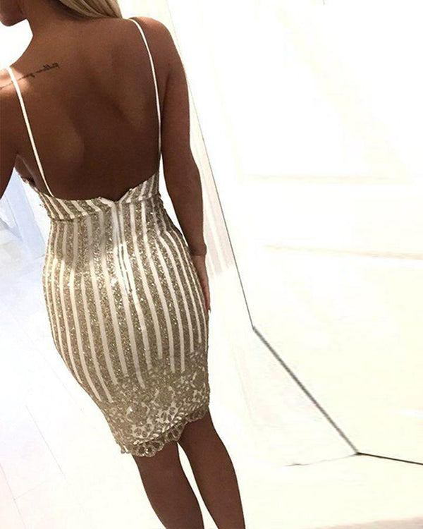 Sequined Deep V Slip Dress