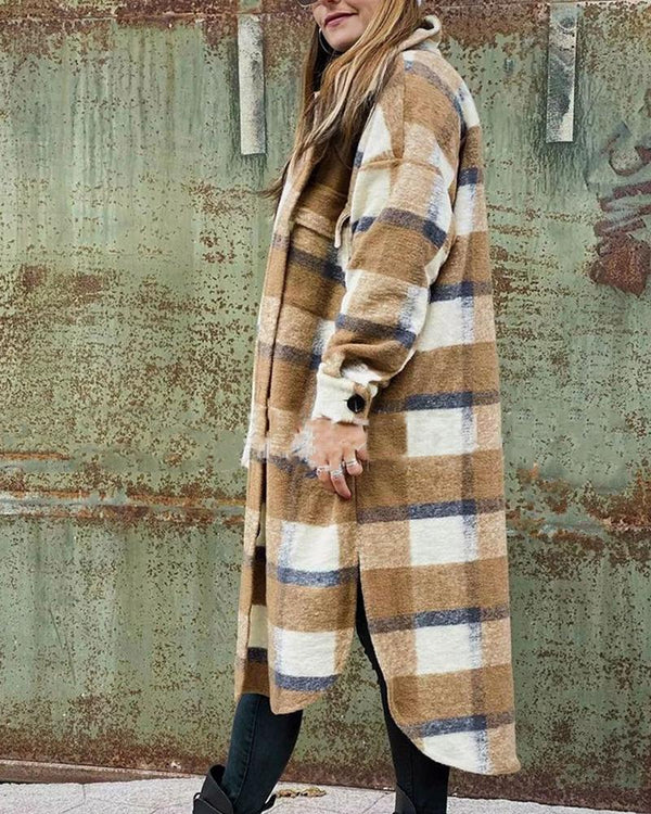 Big Checked Long Sleeve Loose Duffle Coats