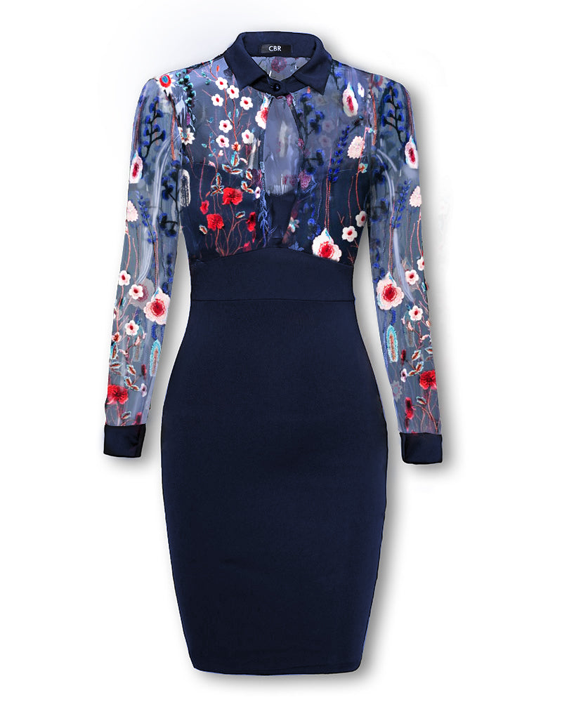 Mesh Floral Embroidery Bodycon Dress