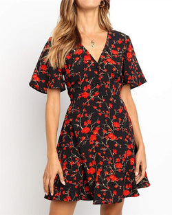 Floral Print Chiffon Mini Dress