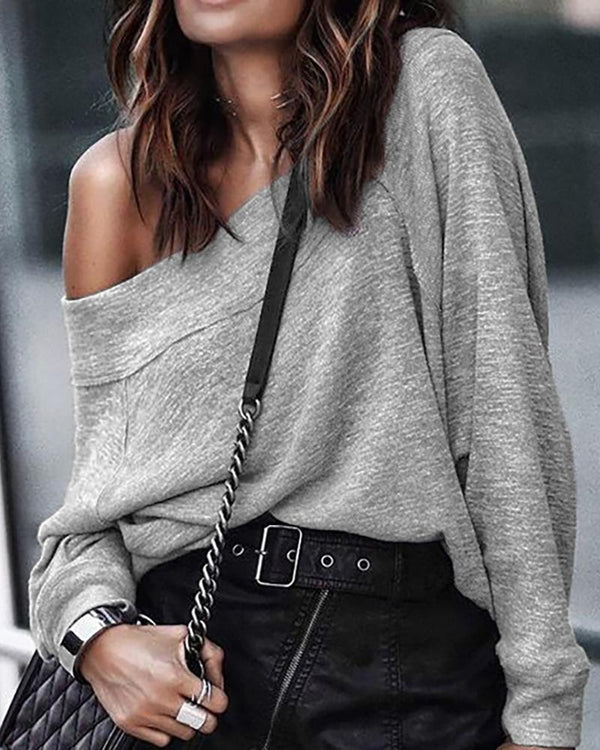 Solid One Shoulder Casual Sweatshirt