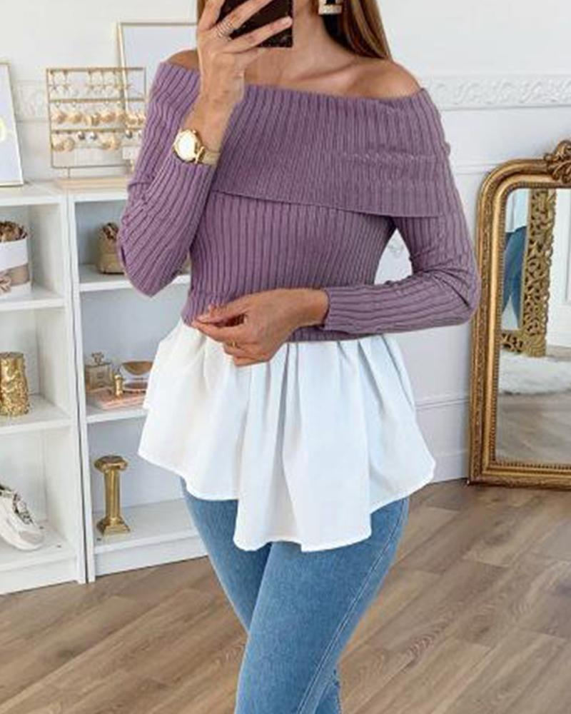 Off Shoulder Ribbed Contrast Top