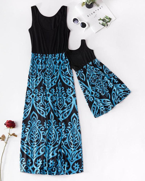 Floral Print Maxi Dress For Mom