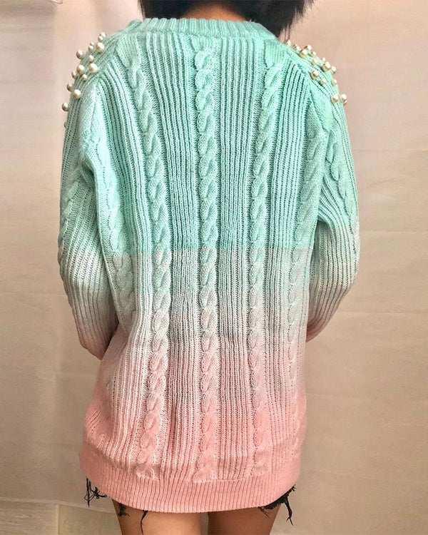 Beaded Tie-dye Long Sleeve Sweater