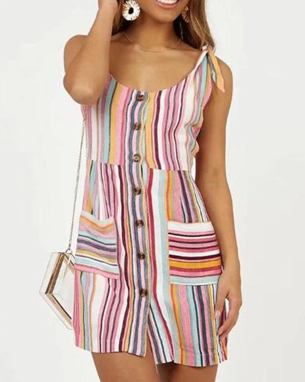 Colorfuls Stripes Sleeveless Romper