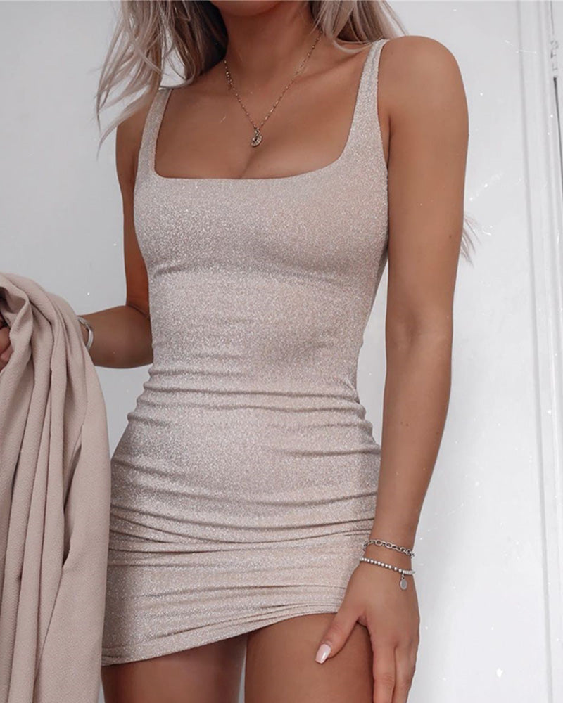 Thick Strap Ruched Bodycon Dress