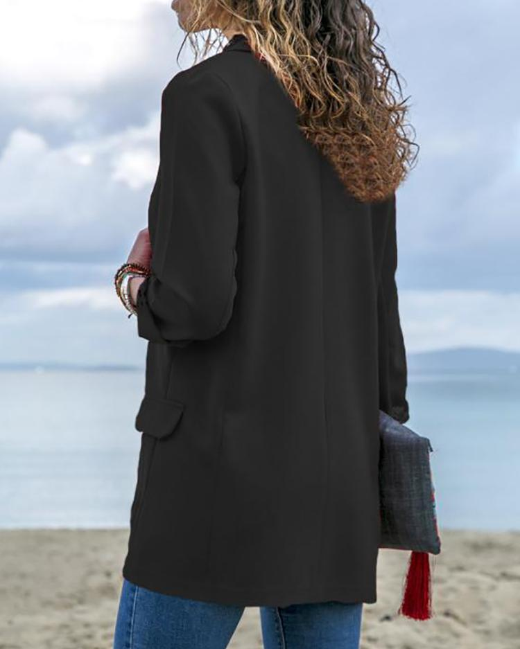 Solid Open Front Long Sleeve Oversize Coat